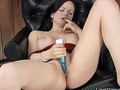 As she sits on the chair and starts undressing, this beauty will be ready to slam. However,nobody is around so she decided to do it herself while using a toy to plunge her delicious twat and cum.