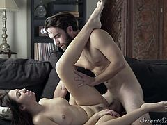Nothing else exists for horny brunette Melissa and bearded stud Logan, as they immerse themselves in their own erotic world on the sofa. It's sensuality at its finest, as she slides her mouth slowly up and down his hard cock. Her moans as he rams her sweet cunt, sound like music to his ears.