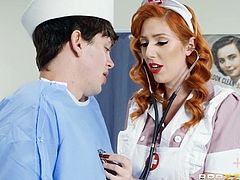 This redhead nurse will help you to solve all your health problems. You don't believe me? Well, then pull out your dick and try to relax, she knows what to do, and she will take care of you. Do you feel her wet lips on your cock's head?