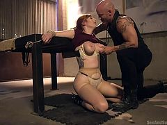 When Derrick told his girlfriend that he had a surprise for her, she was excited and was eagerly waiting for this moment. But try to imagine her emotions, when she found herself bound, naked and with her boyfriend's thick dick in her mouth, balls deep. Whipping her bare tits, he proudly informed her that this brutal bdsm session was his