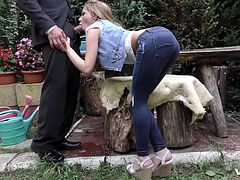 a lost chauffeur ends up in the garden of a horny Russian slut