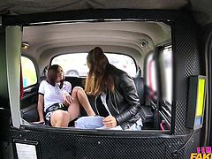 Vanessa's usually a great taxi driver, but this time she's in trouble. She tells me she'll do anything to get out of a ticket or an arrest. She's an incredibly hot chick, and I can't stop myself from kissing her and groping her nice tits. We get in the back seat, where she eagerly eats my pussy.