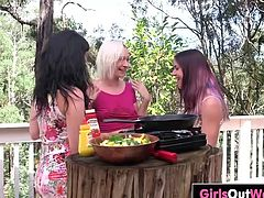 Three Aussie lesbian babes, hairy Steel, trimmed Cali and shaved Natalie, enjoy barbecue before wild lesbian pussy-licking and finger-fucking