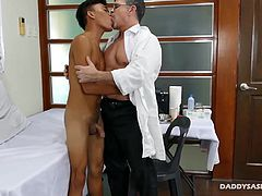 Jude is one horny gay Asian patient. Hes got this fetish for medical exams with hot mature doctors. And hes got the hots for Doctor Daddy. Interracial gay sex is his thing, and so he knows he can get Daddy Mike horny for some medical fetish fun in the exam room. This Asian boy loves all the anal penetration techniques he performs with his finger fucking and dildo fucking, and finally with his daddy cock. And after all the fucking is over, daddy and twink blow their cum.