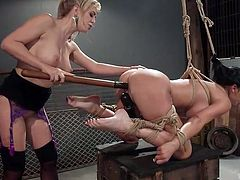 It's just a sin to pass such an excellent video! Finally, two amazing milfs, two undeniable goddesses are met here, and you have a chance to enjoy them to the fullest. Watch lesbian ass spanking, bondage, punishment & hardcore sex. Have fun!