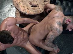 Rikk and Manuel are guaranteed to make you hard as a rock and nut on your screen! These fit men are tattooed, bearded, and sweaty, licking and fucking each other. If you don't cum at least once watching this, then you are a champion of restraint and self-control!