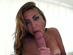 Julianna Vega is a Latina milf and she knows how to suck a cock. She's going to blow that long and stiff white sausage in this pov and she's going to make him spray her face with his juice