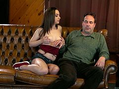 He gets to fuck his sexy stepdaughter and how could he not, when she had such amazing tits. She can suck on his cock for hours until he is completely dry of cum. The cutie needs all of his juicy spunk in her mouth.