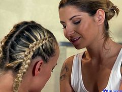 She had a really tough week, so she needed to do something that would help her relieve stress. She undressed and had a nice massage from a beautiful lady. The massage turned into hot lesbian sex. Watch as they rubs cunts and kiss.