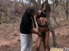 Ultimate ebony whore got abused by a horny piston duo
