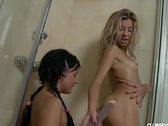 Tiffany H and sabel B enjoy a fuck during a nice shower