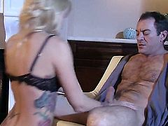 After a particularly stressful day, this blonde is exhausted. She gets called into her bosses office for what she fears is more work, but instead she gets rewarded with sex in office.