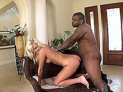 Flirtatious european blonde Ivana Sugar with perfect ass takes off her pink thong and takes big black pole in her tight vagina from behind. Nice interracial shagging in doggy position!