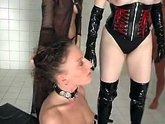 Mistress pisses on slavegirl