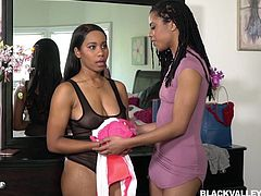 Check out these fine black lesbians. They were getting ready to go out, but the sight of each other made them want to lick ebony pussy and fuck hard. Jenna bent over the dresser and got her vagina eaten out by her lover.
