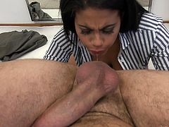 Fiery Latina babe Kesha wants to show off her sexual prowess to Rocco, and she casts all inhibitions aside to do just that. Kneeling before him, she takes his impressive cock between her big boobs and into her warm mouth. Then, straddling his lap, she fucks him hard until they both cum.