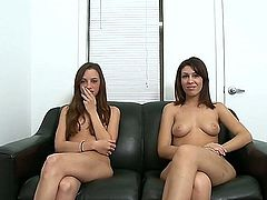 Two amateur brunette tongue twisters are going to have some fun on the couch. They're going to lick each other's horny and wet fannies till they both cum real hard