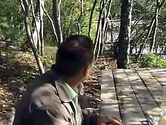 FRENCH blonde amateur in forest with old men