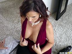 Syren is a sexy milf who has absolutely no problems getting men even at this age. It's because of her sexy boobs and the amazing blowjob skills. She even gets to fuck this groom on his wedding day. She bounces on his cock, before he is about to head to the altar. The bride caught them...