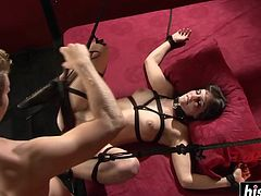 Blonde babe enjoys being her boyfriend's slave while he's giving her his schlong