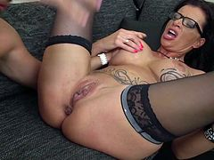 This busty mature lady is so wet right now. Her cunt is dripping with pussy juice and she is so horny. Her man stuck his fingers deep down into her pussy and made her cum all over the place. What a hot sight!