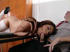 If Sami agrees to suck off her college professor, then he will surely give her a much better grade on her final exam. He leaned back in his desk chair and she wrapped her beautiful lips around his huge cock.