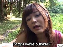 Some truly bizarre outdoor facesitting provided by two slaves as the director goads her on with English subtitles