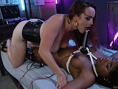 Usually, the one wearing the strap-on has it down by her pussy (and not the one tied up, either). In this case, Yara is immobilized by Bella, with an electrified metal one strapped in between the sexy black babe's tits. This is probably so Bella's beautiful hole could be more easily seen.