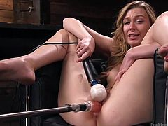 Blonde bombshell Alexa just got her new sex toys, and she's giving them a test run. It looks like they're worth the money she paid for them! Watch her sitting in an armchair, legs far apart, as her new sex machine pistons in and out of her slick cunt. Her pleasure is enhanced with a big vibe.