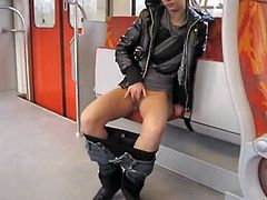 Girl nude in public train