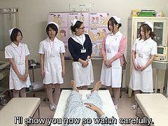 JAV CMNF encounter for the ages featuring a group of five nurses who strip stark naked for a clothed patient for the purpose of extreme erotic stimulation in HD with English subtitles