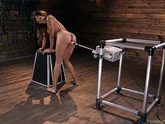Sadie has had men make her cum before, but none of those could compare with the orgasms she had with our machines! She came so good, she couldn't do anything for a moment but smile and giggle a little. Check out that ass when she turns around for some more, this time from behind.