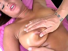 Naked super sexy brunette Angelica Heart with firm boobs and shaved innie pussy sucks and fucks after full body rub down. You'll see perfect bodied chick giving head and getting shagged in this steamy massage video.