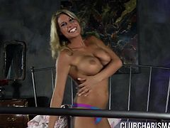 Gorgeous woman Charisma Cappelli adores her blue sex toy