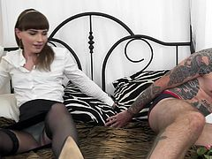 Hot shemale Natalie came home and she is ready to fuck. Will is waiting for her in the bedroom and when she greets him, she has to suck on his cock right away. She plays with his dick and balls, and sucks him off.
