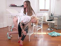 Angelica is new nurse, but she is so hot that she lost her mind and started fingering patients ass.