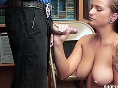 shoplifting babe jerks a cock