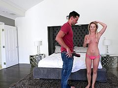 They really like to try out acrobatic and interesting positions. She is upside down while sucking on his massive cock. She had a firm grip as she jacks off and blows his huge dick. She is eager for cum.