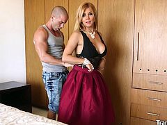 Sexy shemale Naomi Chi meets a guy from a dating site in a hotel room and gets both her holes fucked hard.