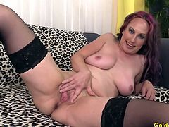 Sexy granny gets naked and rub her mature pussy Then sucks a fat dick and then takes it deep in her pussy and get fucked in many positions