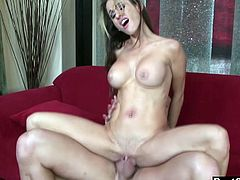The definition of tits on a stick. This skinny broad with big boobs takes on a big dick in her tight pussy. She loves to get man handled until she gets the load.