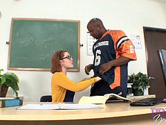 Sexy teacher Misty Dawn cannot resist a fellow's big black dick