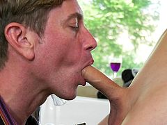 He teased her cock, as he slide his tongue down her stomache to her navel. Her shemale cock was rock hard at this point. She wanted to be sucked so badly. He gave her an amazing blowjobs because he loves his tranny girlfriend.