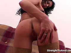 Sexy brunette feels the anal rush hour and warms up her tight ass hole with her hands and a dildo before welcoming a big cock going in straight to her anal.
