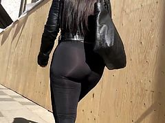 Big ass shinny see trhu leggings