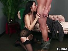 Unusual beauty gets cumshot on her face swallowing all the cu