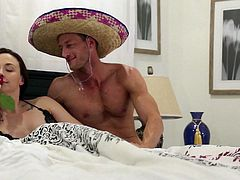 It's their honey moon in Mexico and tonight they are finally going to have some amazing sex. They have been waiting for this for so long. He warms her up by eating her pussy, and then she wraps her lips on his cock, and sucks him off.