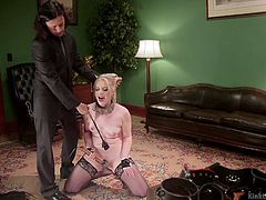 Slutty pigtailed blonde Dresden is riding sybian and stimulates pussy with a vibrator