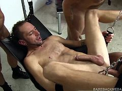 In this rough trade foursome, Dek Reckless is the meat in the middle, as Hudson Chase, Travis Woods, and Ray Dalton have their way with him. Spit roasted on a bench, each takes a turn barebacking their bottom boy, as he sucks anothers dick. Then the action moves to the sling, where each man gets another shot at fucking Dek raw and shooting their cum all over him.