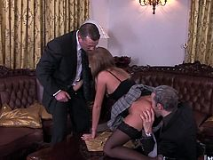 She gets three guys to show up thinking theyre applying to be her new groundskeepers of security guards, theyre in for a treat when part of the interview gets all three of their hard cocks in Lauryns holes, double penetrating her ass and pussy, so she can see how they work as a team
